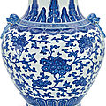A large blue and white vase, hu, qing dynasty, 18th-19th century