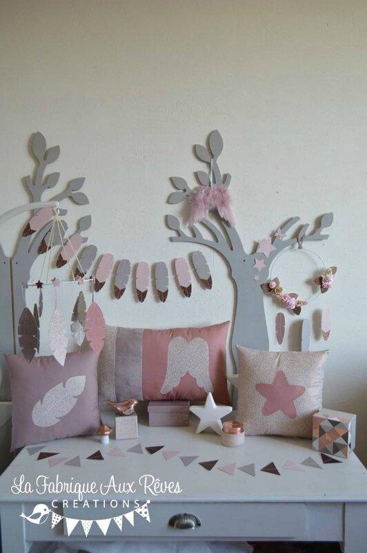 décoration maison cuivré rose paillette plumes étoiles ange vieux rose rose poudré taupe cuivre bronze crème - Copie