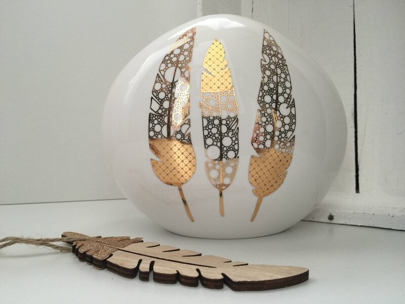 Vase plume dorée - Perle de KaOlin