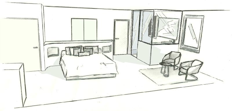 chambre maison ami vue face photo de dessins migario. Black Bedroom Furniture Sets. Home Design Ideas