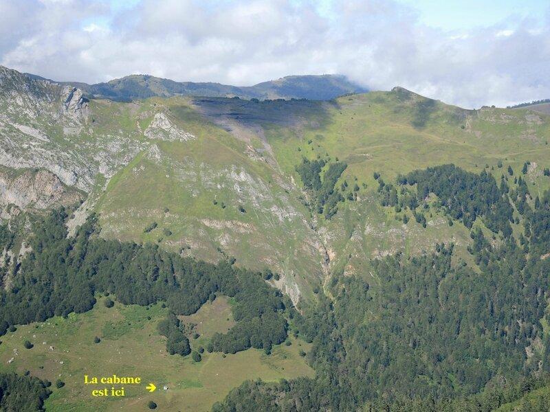 Lac d'Isabe, vue sur la cabane de Cujalate et troupeau (64)a