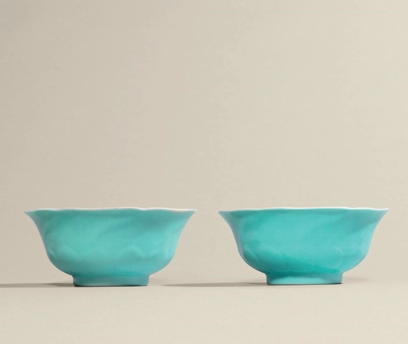 A very rare pair of moulded turquoise-enamelled mallow-form tea bowls, Yongzheng six-character marks in underglaze blue within double circles and of the period (1723-1735)