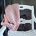 snood tricotin geant point diamant ajoure loom knitting diamond lace stitch lilybouticlou