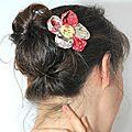 Barrettes fleurs kanzashi japonaises en tissus