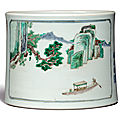 A rare famille-verte 'landscape' brushpot, kangxi period, dated renchen year, corresponding to 1712
