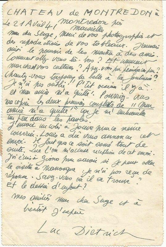 Lettre Luc Dietrich à Serge