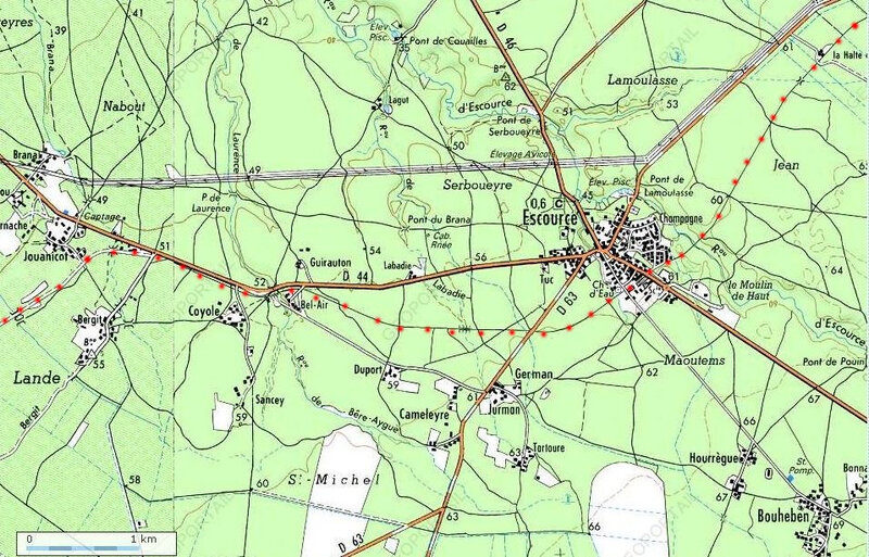Photo-carte-ancienne-voie-ferrée-entre-Escource-Coyole-et-Jouanicot