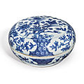 A blue and white 'bird and flower' sectioned box and cover, wanli mark and period (1573-1619)
