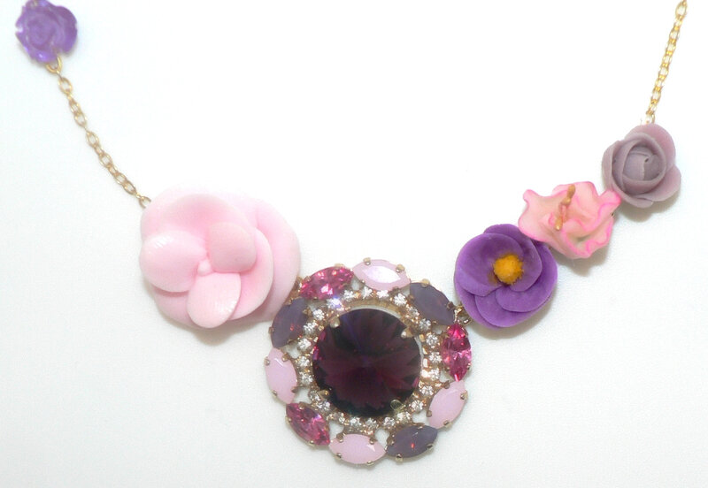 Centre collier cristal rose