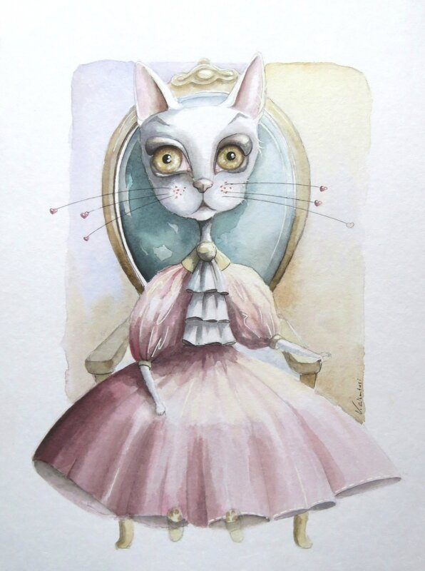 aquarelle chat illustration peinture princesse conte valerie albertosi