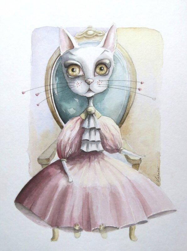 aquarelle chat illustration peinture princesse conte valerie albertosi