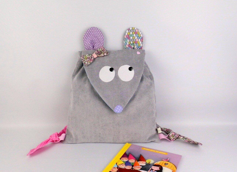 Sac à dos bébé souris mauve violet rose sac à dos enfant maternelle personnalisable prénom couleurs motifs baby backpack personalized name
