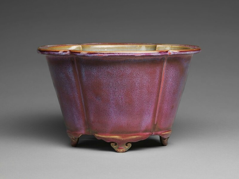Lobed Quatrefoil Flowerpot with Four Cloud Scroll Feet, Ming dynasty, 1368-1644, probably 15th century