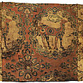 A fine silk samite fragment with deer, central asia, sogdiana, 8th-9th century