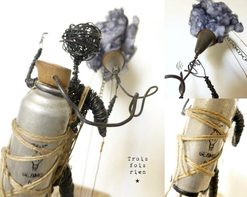 Le chasseur de nuages, clouds hunter, personnage fil de fer, fil de fer, trois fois rien, wire, wire art 8
