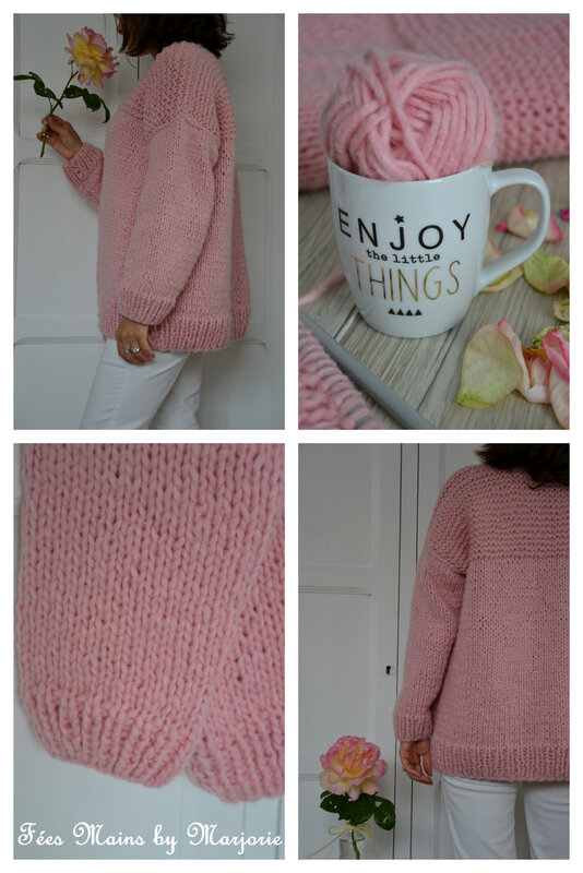 Tricot Gilet rose2
