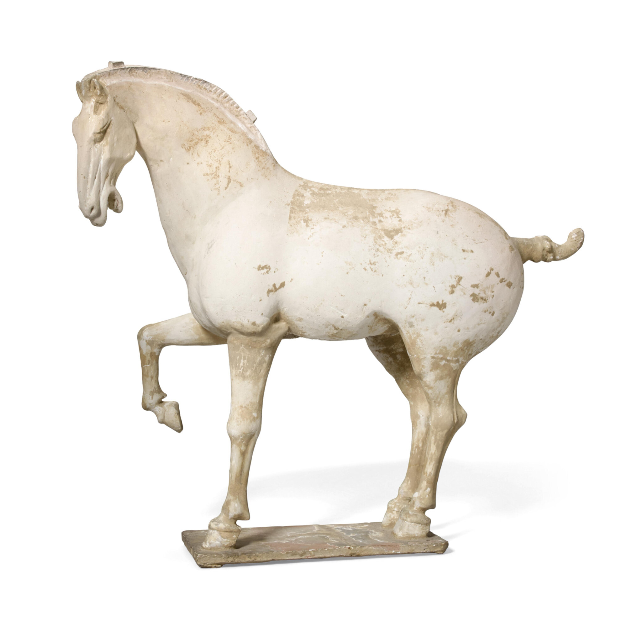 An unglazed pottery horse, Tang dynasty