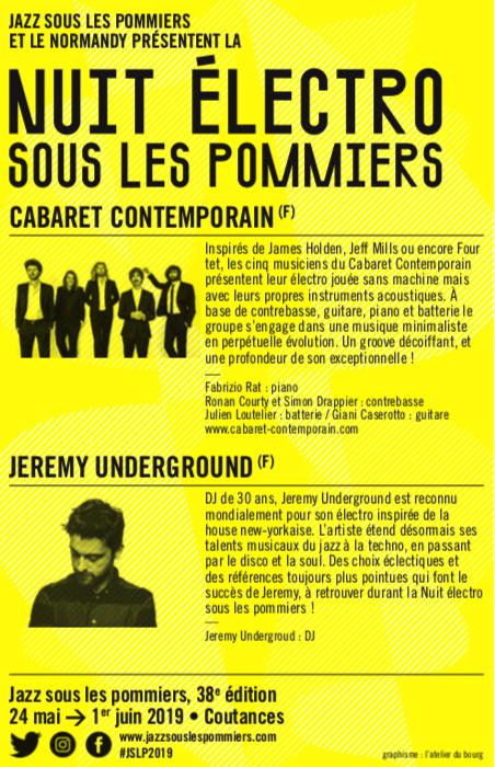 nuit électro sous les pommiers_JSLP_Coutances_Jazz_festival_2019_Cabaret Contemporain_Jérémy Underground_visuel_affiche_verso
