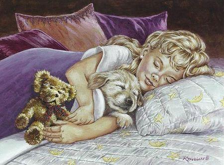Bonne nuit petite fille dort avec chiot c87e942f