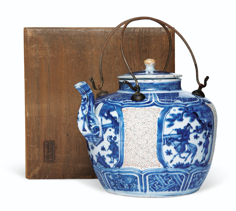 A very rare and unusual blue and white wine pot and cover, Wanli period (1573-1619)