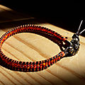 Bracelet Wrap rocailles orange-rouge