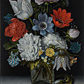 Ambrosius bosschaert the elder, a still life of flowers in a glass flask on a marble ledge, flanked by a red admiral buttefly...