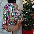 Veste VICTORINE en toile de coton imprimée zèbre-léopard-rose-violet - Doublure de satin noire (22)