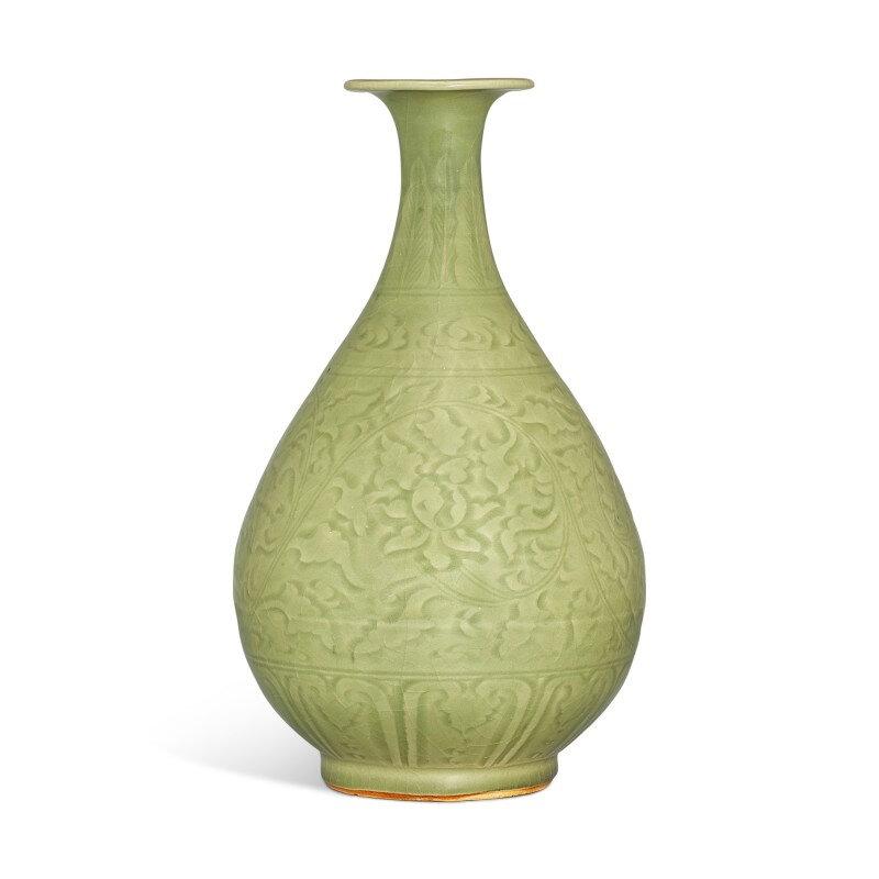 A 'Longquan' celadon carved vase, yuhuchunping, Ming Dynasty