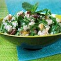 Riz complet aux fruits secs et à la verdure