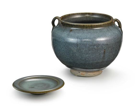 A 'Jun' handled jar and a small 'Jun' dish, Yuan – Ming dynasty