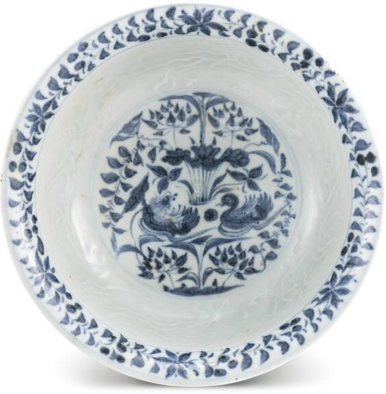 A blue and white 'mandarin duck' bowl, Yuan dynasty
