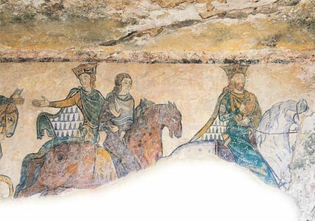 Jean sans Terre chassant en compagnie de sa femme Isabelle et de sa mère Aliénor d'Aquitaine chapelle sainte Radegonde Chinon