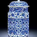 A blue and white cylindrical jar and cover, qianlong period, 1736-1795