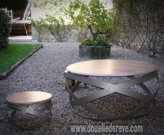 douelledereve, table basse tonneau , table basse barrique , table basse design , art du tonneau , art de la barrique , meuble art barrique , meuble art tonneau , meuble de cave , mobilier cave