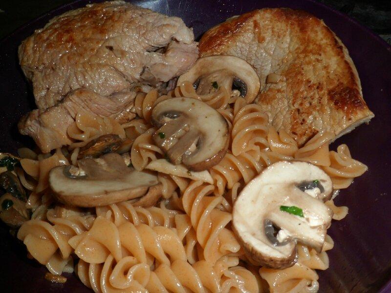 2016-11-04 champignons escalope veau plancha pâtes
