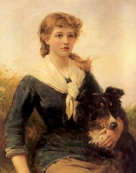 The good companion, girl and her collie