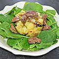 Salade de gésiers frais et pousses d'épinards