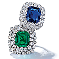 Sapphire and diamond ring, harry winston & important emerald and diamond ring