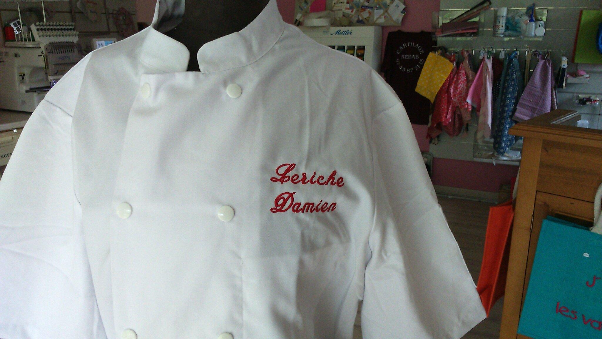 Une Veste De Cuisine Brodée Atelier Fil Création - Broderie veste de cuisine