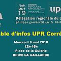 Upr corrèze - table d'information / tractage le mercredi 9 mai à brive à midi !