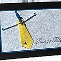 48. noir, gris, jaune et bleu canard - cravate origami
