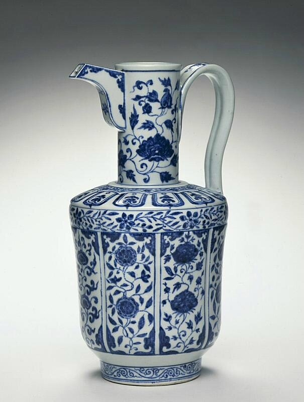 Handled ewer with a spout, ca 1403-1435, Ming dynasty (1368-1644), Reign of the Yongle emperor-Reign of the Xuande emperor