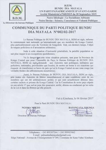 COMMUNIQUE DU PARTI POLITIQUE BUNDU DIA MAYALA (BDM)