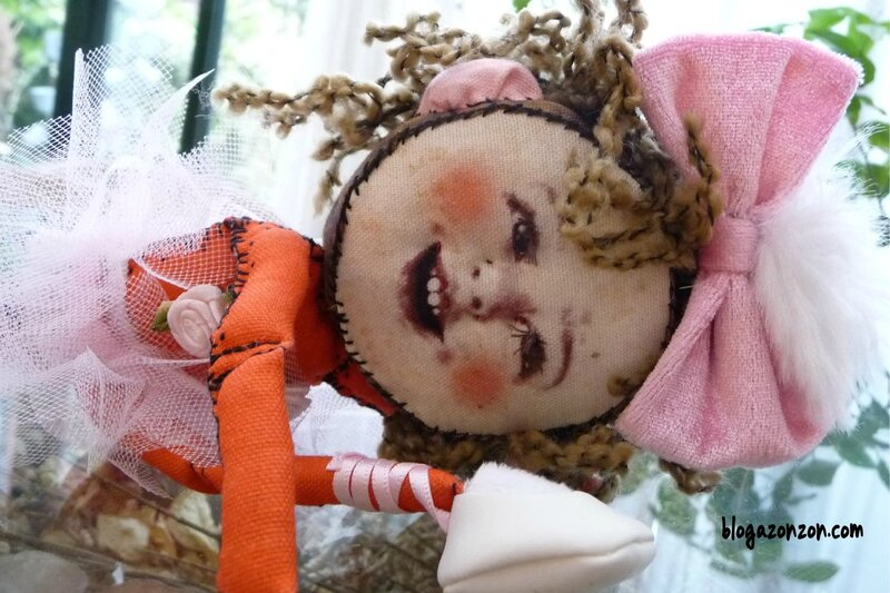 Melle rose fabric doll