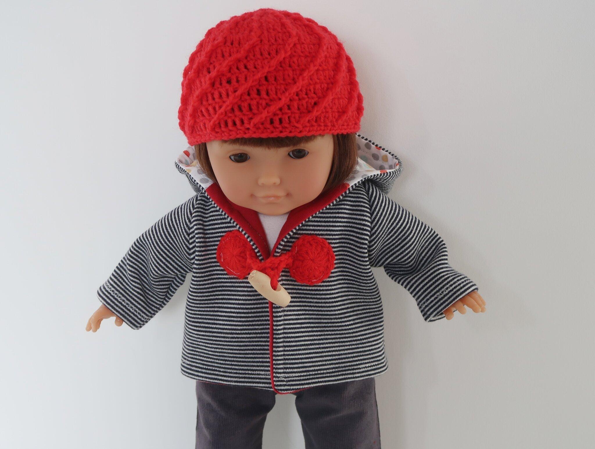 Vêtements veste et bonnet pour poupée 36cm type ma corolle