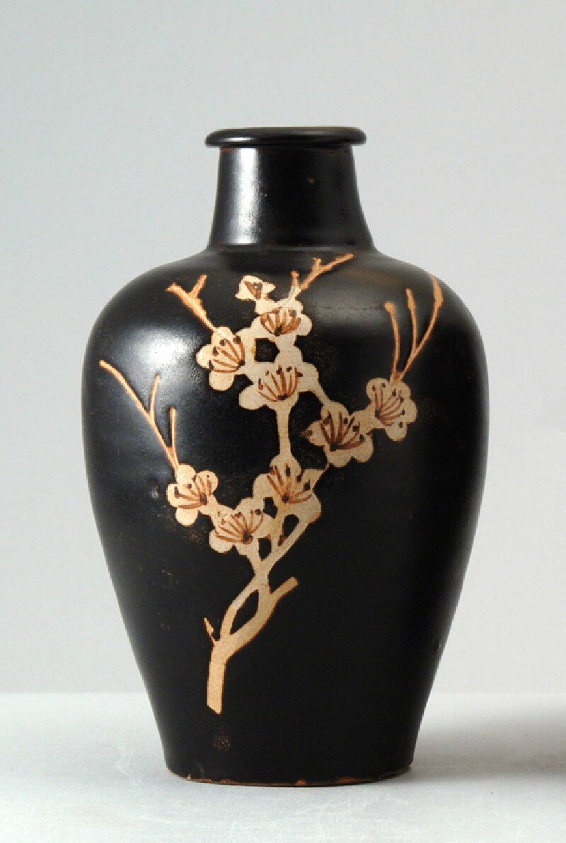 Black ware vase with plum blossom decoration, Jizhou kiln, 12th - 13th century, Southern Song Dynasty (1127 - 1279)