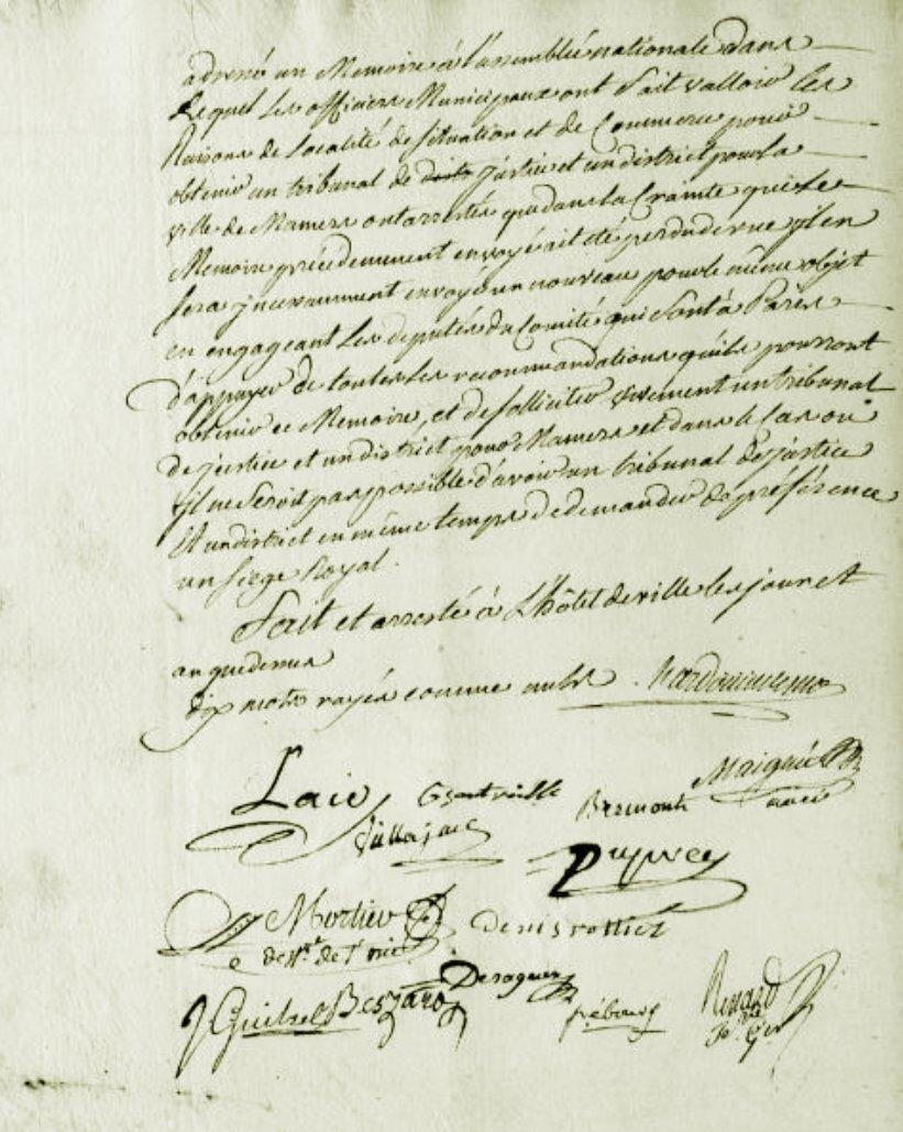 Le 19 janvier 1790 à Mamers : obtenir un district et un siège de justice.