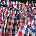 Culotte en coton vichy blanc-rouge-marine et noeud assorti (4)