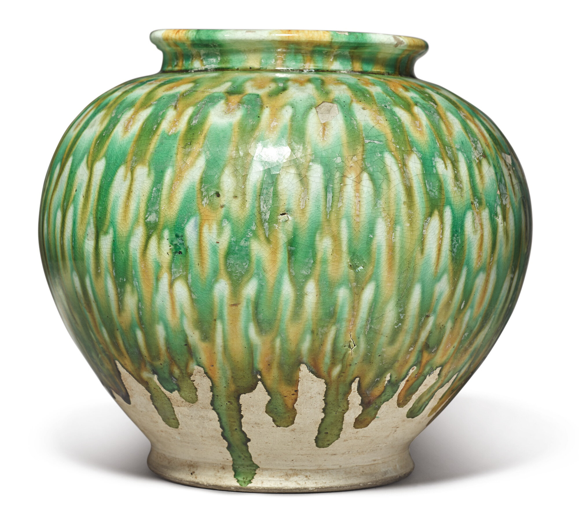 A sancai pottery jar, Tang dynasty (618-907)