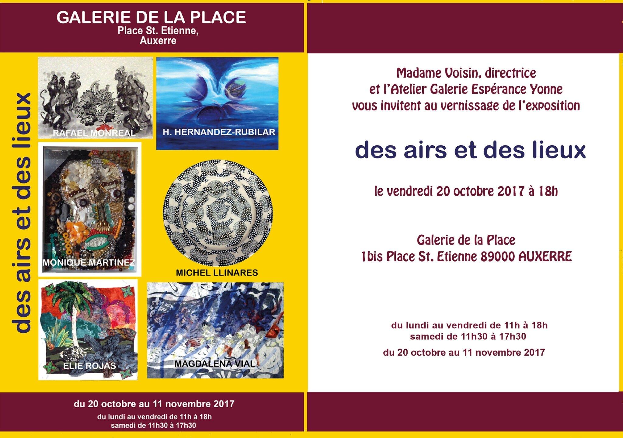"""Exposition """"DES AIRS ET DES LIEUX"""" - Galerie de la Place - Auxerre - 20 octobre au 11 novembre 2017"""